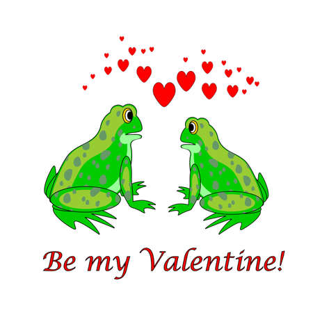 A couple of funny cartoon frogs with hearts. Valentines Day card. Vector-art illustration on a white background Vector