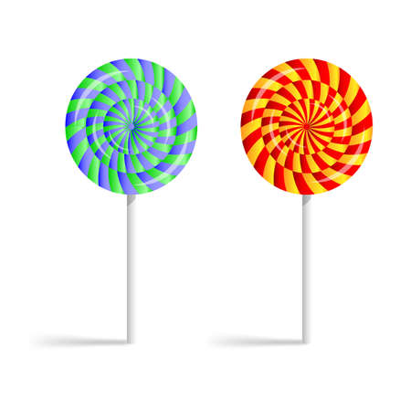 taffy: Colorful striped lollipops isolated on a white background. Vector-art illustration. Illustration
