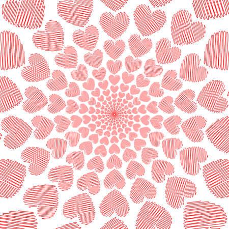 vanish: Design doodle red heart spiral movement background. Valentines Day card. Vector-art illustration