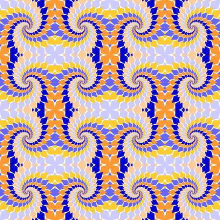 Design seamless colorful abstract pattern. Twirl elements twisting background. Vector art Vector