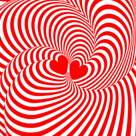 Design hearts twisting movement illusion background Illustration