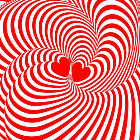 Ontwerp harten verdraaien beweging illusie achtergrond