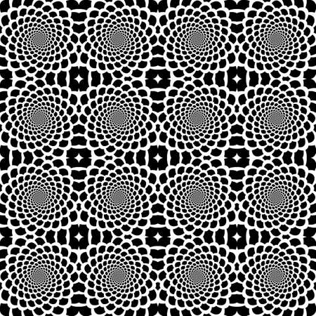 snakeskin: Design seamless monochrome helix movement snakeskin pattern. Abstract background in op art style. Vector art
