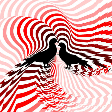 twisting: Silhouette of two doves. Design colorful striped twisting lines textured background. Vector-art illustration. No gradient