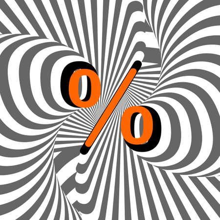 percentage sign: Design percentage sign. Striped waving line textured symbol Illustration