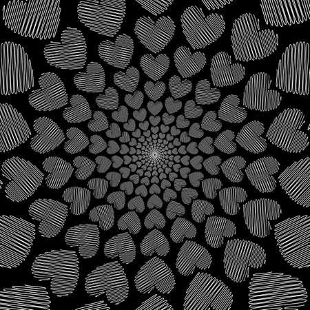 vanish: Design doodle monochrome heart helix motion background