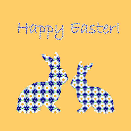 margerite: Silhouette of two Easter bunny rabbits decorated with cornflower and chamomile flowers pattern