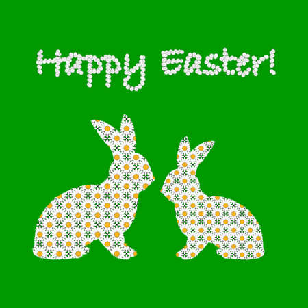 margerite: Silhouette of two Easter bunny rabbits decorated with chamomile flowers pattern