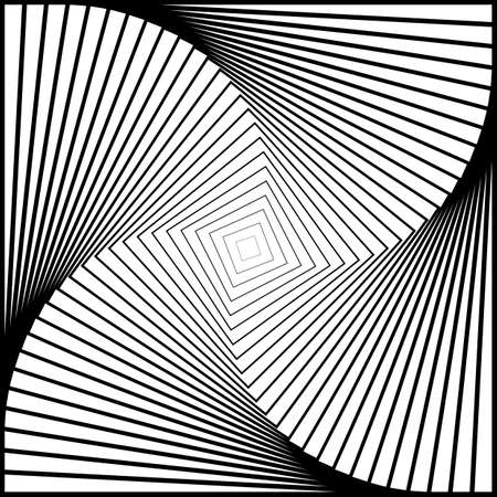 Design monochrome twirl movement illusion background. Abstract strip torsion backdrop
