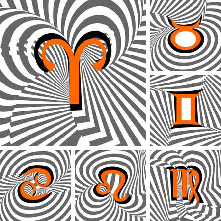 twisting: Design set of Zodiac icons. Strip twisting line textured font