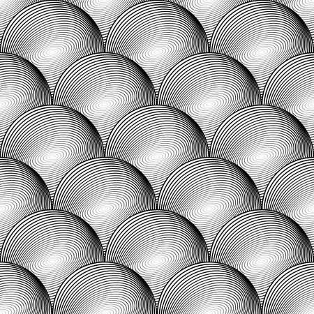 uncolored: Design seamless uncolored volumetric sphere geometric lines pattern Illustration