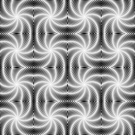 uncolored: Design seamless uncolored vortex twisting pattern. Abstract decorative striped textured background. Vector art Illustration