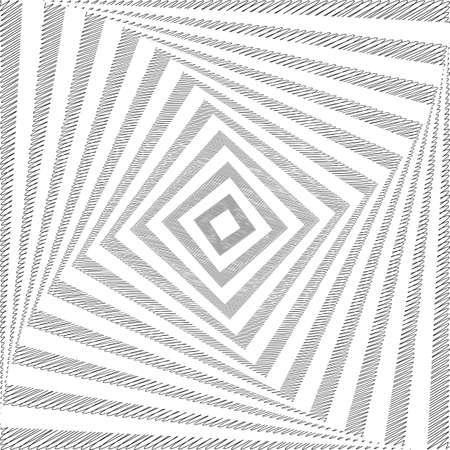 torsion: Design monochrome twirl movement square geometric background. Abstract doodle strip torsion backdrop. Vector-art illustration Illustration