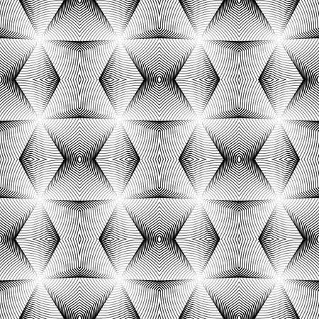 wattle: Design seamless monochrome geometric pattern. Abstract diamond lines textured background. Vector art
