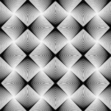 wattle: Design seamless uncolored geometric pattern. Abstract diamond interlacing textured background. Vector art