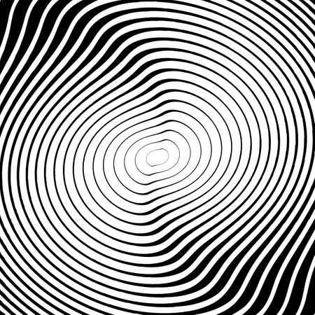 distortion: Design monochrome whirl circular motion background. Abstract striped distortion backdrop. Vector-art illustration