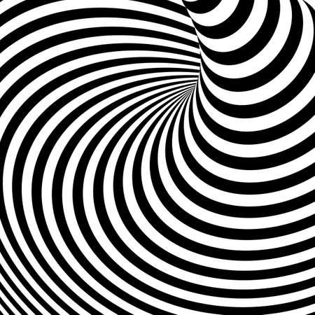 torsion: Design monochrome vortex movement illusion background. Abstract stripe torsion backdrop. Vector-art illustration Illustration
