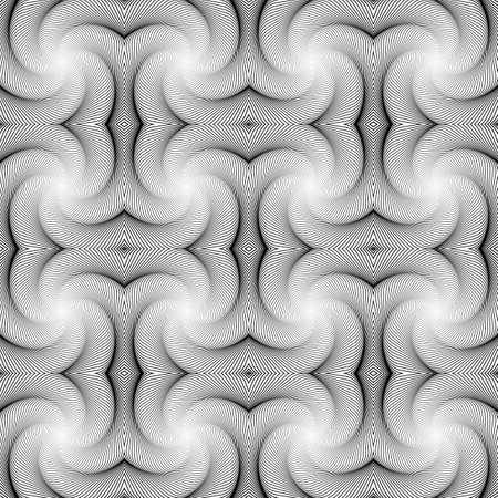 speckled: Design seamless monochrome decorative pattern. Abstract waving lines background. Speckled volumetric texture. Vector art Illustration