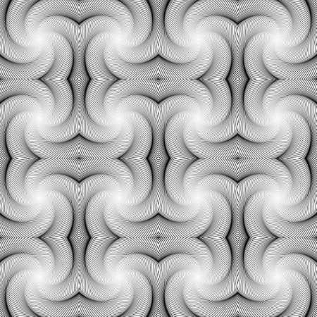 volumetric: Dise�o blanco y negro sin fisuras patr�n decorativo. Resumen l�neas ondulantes fondo. Manchado textura volum�trica. Vector el arte Vectores