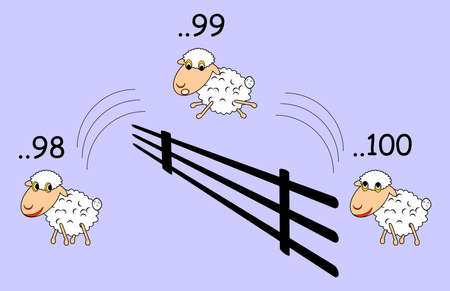 Funny cartoon sheep jumping through the fence.