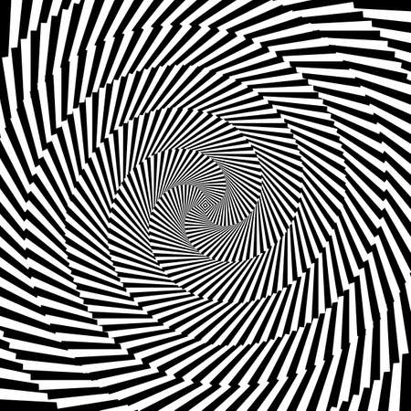 circle design: Design monochrome vortex circular movement illusion background. Abstract striped distortion backdrop.  Illustration