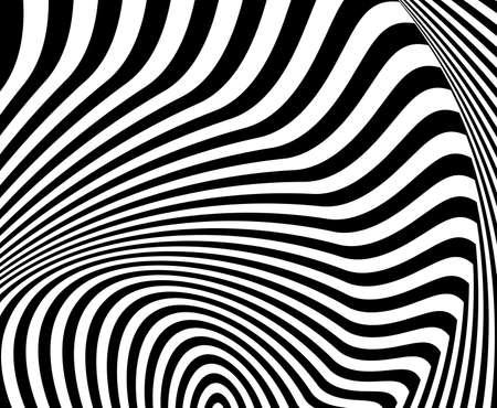 torsion: Design monochrome whirl movement illusion background. Abstract striped torsion backdrop.