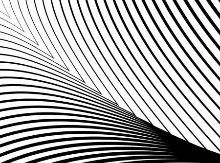 distortion: Design monochrome lines illusion background. Abstract strip distortion backdrop. Illustration