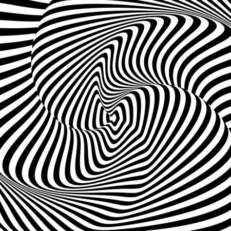distorted: Design monochrome whirl motion illusion background. Abstract striped distortion backdrop.