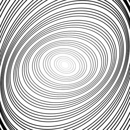 distortion: Design monochrome whirl circular motion background. Abstract striped distortion backdrop.