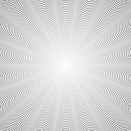 uncolored: Design uncolored twirl illusion background. Abstract strip distortion backdrop.