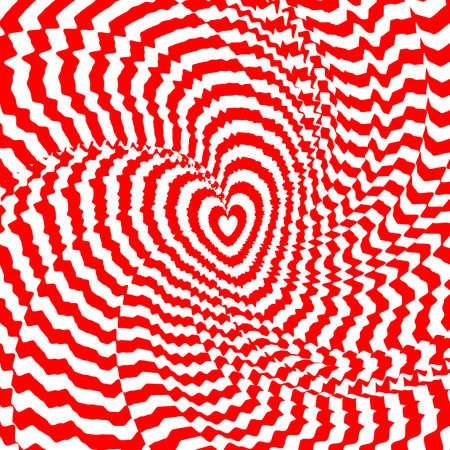 unusual valentine: Design heart twirl movement illusion background.