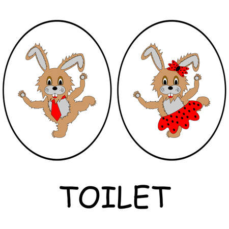 Man and woman restroom signs. Funny cartoon hares.  Vector