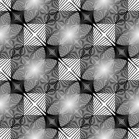 interlaced: Design seamless monochrome square geometric pattern. Abstract interlaced lattice grid background.  Illustration
