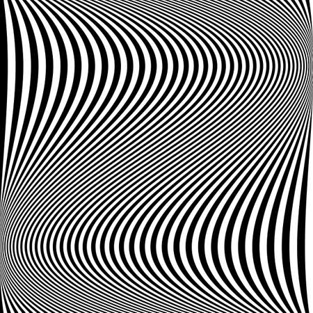 distortion: Design monochrome movement illusion background. Abstract striped lines distortion backdrop.  Illustration