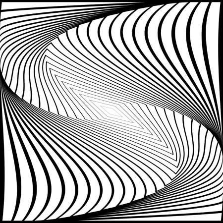 torsion: Design monochrome twirl movement illusion background. Abstract strip torsion backdrop.  Illustration