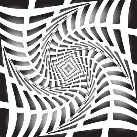 torsion: Design monochrome twirl movement illusion background. Abstract stripy torsion backdrop.