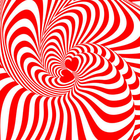 Design hearts swirl movement illusion background. Abstract strip torsion backdrop. Vector
