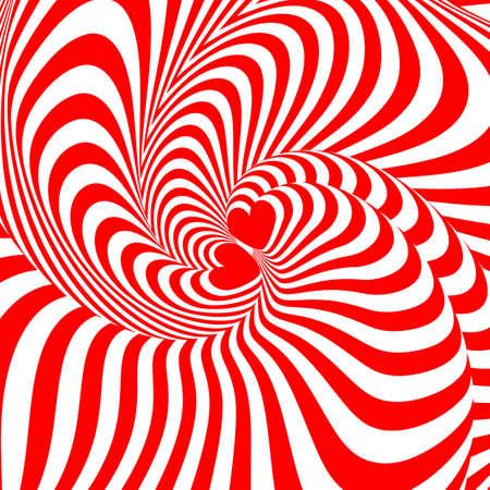 torsion: Design hearts swirl movement illusion background. Abstract strip torsion backdrop.