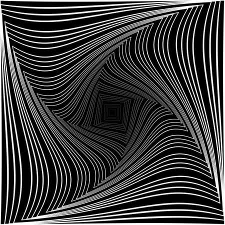torsion: Design monochrome vortex movement illusion background. Abstract square torsion backdrop.
