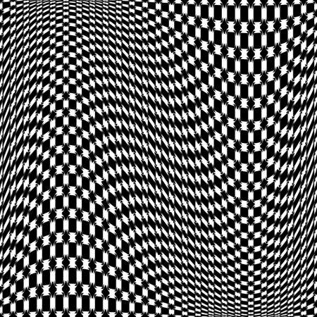deform: Design monochrome movement illusion checkered background. Abstract warp backdrop.