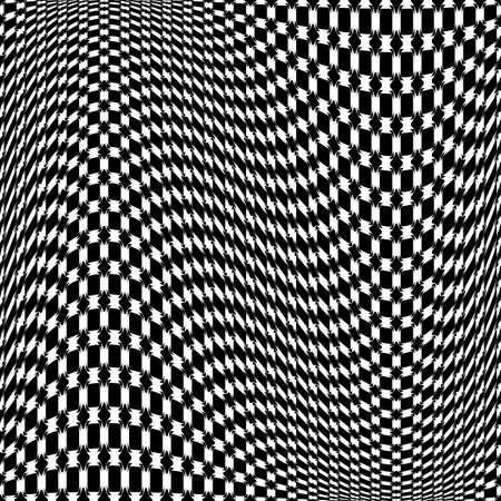 Design monochrome movement illusion checkered background. Abstract warp backdrop.