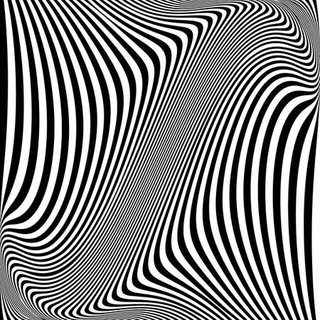 Design monochrome movement illusion background. Abstract striped lines warped backdrop. Vector-art illustration