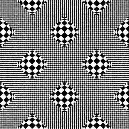 deform: Design seamless monochrome checkered geometric pattern. Abstract textured background. Vector art Illustration