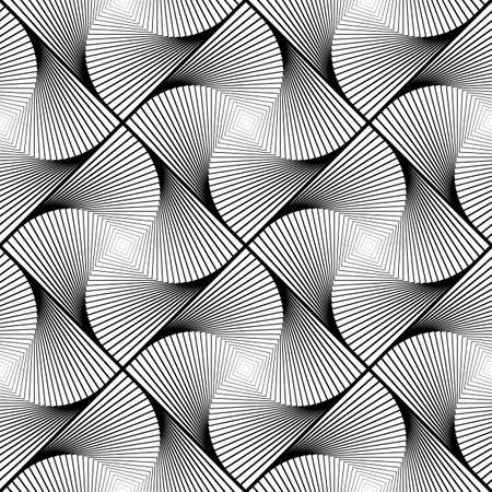 speckled: Design seamless twirl movement striped geometric pattern. Abstract monochrome waving lines background. Speckled texture. Vector art Illustration