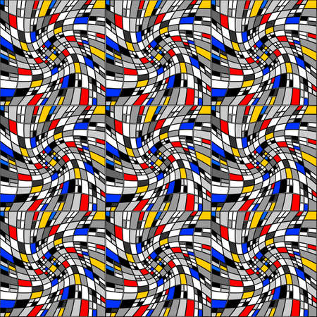 distortion: Design seamless colorful mosaic pattern. Abstract distortion textured background. Vector art Illustration