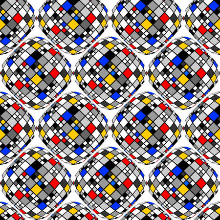 deform: Design seamless colorful mosaic geometric pattern. Abstract decorative textured background. Vector art
