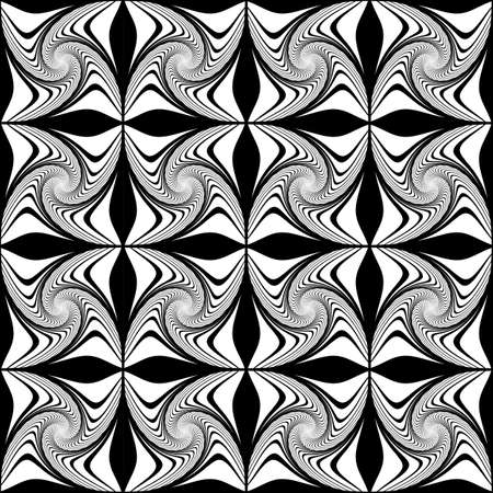 deform: Design seamless monochrome decorative pattern. Abstract waving lines background. Speckled texture. Vector art