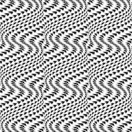distortion: Design seamless monochrome movement illusion trellised pattern. Abstract distortion textured twisting background. Vector art Illustration