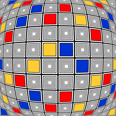 checkered volume: Design colorful warped checked mosaic pattern. Abstract convex textured background. Vector art