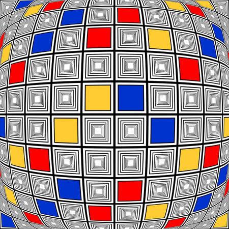 parallelogram: Dise�o deformado colorido comprueban patr�n de mosaico. Resumen textura de fondo convexo. Vector art Vectores